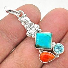 7.26cts green arizona mohave turquoise 925 silver buddha charm pendant t38412