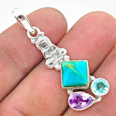7.26cts green arizona mohave turquoise 925 silver buddha charm pendant t38414