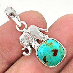 5.22cts green arizona mohave turquoise 925 silver elephant pendant t38439