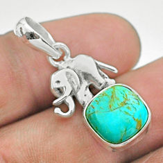 5.22cts green arizona mohave turquoise 925 silver elephant pendant t51336