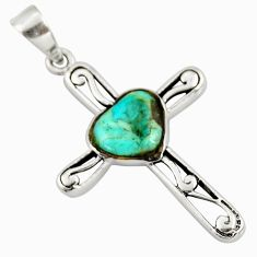 2.92cts green arizona mohave turquoise 925 silver holy cross pendant c26358
