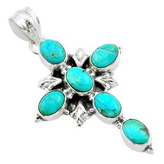 9.33cts green arizona mohave turquoise 925 silver holy cross pendant t53093
