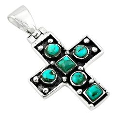Green arizona mohave turquoise 925 sterling silver cross pendant c10766