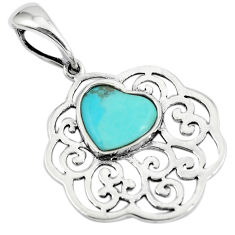 2.81cts green arizona mohave turquoise 925 sterling silver heart pendant c10845