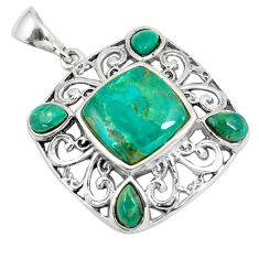 6.80cts green arizona mohave turquoise 925 sterling silver pendant c10786