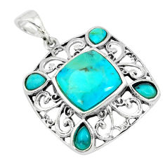 6.85cts green arizona mohave turquoise 925 sterling silver pendant c10793