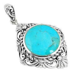 9.42cts green arizona mohave turquoise 925 sterling silver pendant c10804
