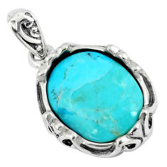 6.31cts green arizona mohave turquoise 925 sterling silver pendant c10846