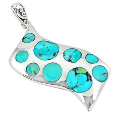 7.89cts green arizona mohave turquoise 925 sterling silver pendant c10848
