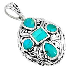 3.75cts green arizona mohave turquoise 925 sterling silver pendant c10851