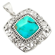4.38cts green arizona mohave turquoise 925 sterling silver pendant jewelry c9999