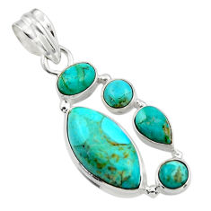 13.43cts green arizona mohave turquoise 925 sterling silver pendant r44127