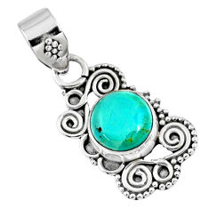 2.88cts green arizona mohave turquoise 925 sterling silver pendant r57709