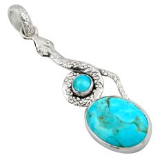 13.27cts green arizona mohave turquoise 925 sterling silver snake pendant d47268