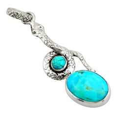 10.37cts green arizona mohave turquoise 925 sterling silver snake pendant d47269