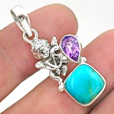 6.97cts green arizona mohave turquoise amethyst 925 silver angel pendant t38433