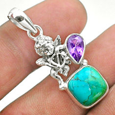 5.52cts green arizona mohave turquoise amethyst 925 silver angel pendant t51286