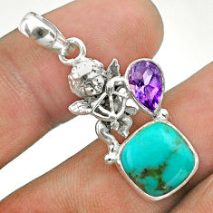 6.26cts green arizona mohave turquoise amethyst 925 silver angel pendant t51289