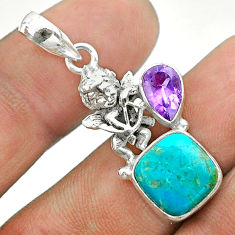 5.15cts green arizona mohave turquoise amethyst 925 silver angel pendant t51290