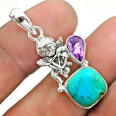 6.03cts green arizona mohave turquoise amethyst 925 silver angel pendant t51297
