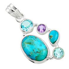 14.01cts green arizona mohave turquoise amethyst 925 silver pendant r44106