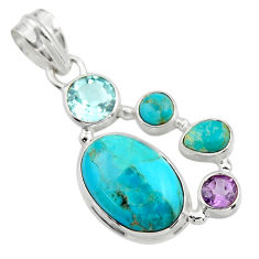 14.47cts green arizona mohave turquoise amethyst 925 silver pendant r44109