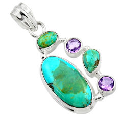 14.01cts green arizona mohave turquoise amethyst 925 silver pendant r44110