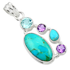 14.31cts green arizona mohave turquoise amethyst 925 silver pendant r44117