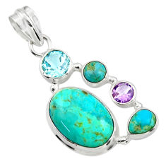 13.96cts green arizona mohave turquoise amethyst 925 silver pendant r44120