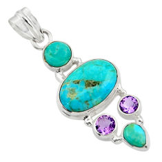 14.33cts green arizona mohave turquoise amethyst 925 silver pendant r44139