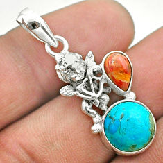 5.45cts green arizona mohave turquoise coral 925 silver angel pendant t51285