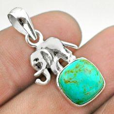 5.50cts green arizona mohave turquoise cushion silver elephant pendant t51317
