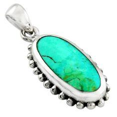 4.02gms green arizona mohave turquoise enamel 925 sterling silver pendant c9956
