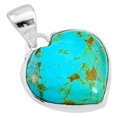 9.65cts green arizona mohave turquoise heart 925 sterling silver pendant t12981