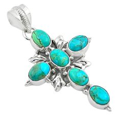 9.07cts green arizona mohave turquoise oval 925 silver holy cross pendant t53077