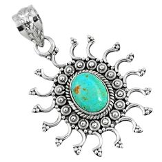 2.17cts green arizona mohave turquoise oval 925 sterling silver pendant r57768