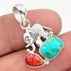 5.22cts green arizona mohave turquoise red coral silver elephant pendant t38425