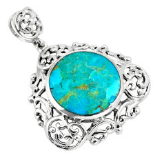 12.07cts green arizona mohave turquoise round 925 sterling silver pendant c10803