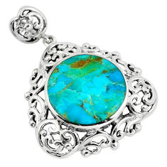 11.21cts green arizona mohave turquoise round 925 sterling silver pendant c10813