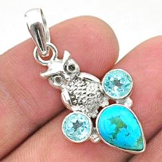 5.23cts green arizona mohave turquoise topaz 925 silver owl pendant t38431