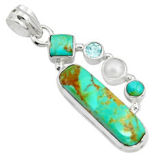 12.34cts green arizona mohave turquoise topaz pearl 925 silver pendant r24932