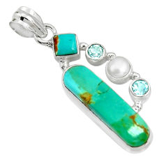 12.83cts green arizona mohave turquoise topaz pearl 925 silver pendant r24936