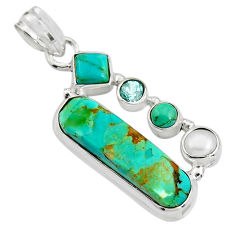 12.83cts green arizona mohave turquoise topaz pearl 925 silver pendant r24937