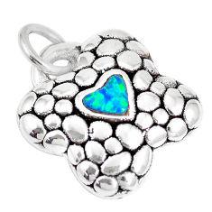 0.70cts green australian opal (lab) 925 silver heart pendant a92755 c24333
