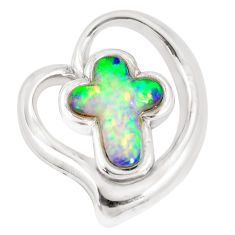 4.92cts green australian opal (lab) 925 silver holy cross pendant c24300