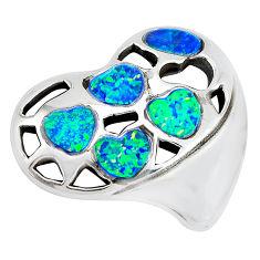 7.33cts green australian opal (lab) 925 sterling silver heart pendant c24285