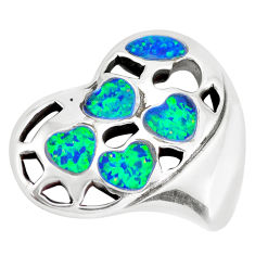 6.86cts green australian opal (lab) 925 sterling silver heart pendant c24287