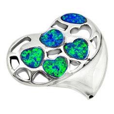 Green australian opal (lab) 925 sterling silver heart pendant jewelry c24286