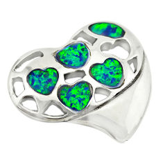 Green australian opal (lab) 925 sterling silver heart pendant jewelry c24289