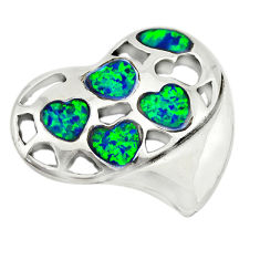 Green australian opal (lab) 925 sterling silver heart pendant jewelry c24290